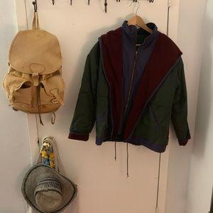 vintage green/burgundy coat